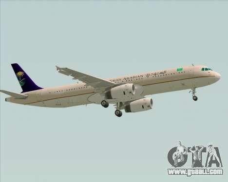 Airbus A321-200 Saudi Arabian Airlines for GTA San Andreas back view