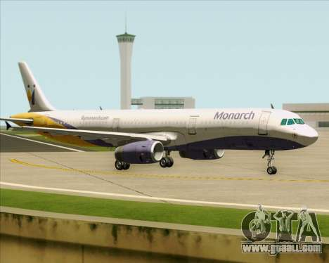Airbus A321-200 Monarch Airlines for GTA San Andreas back view