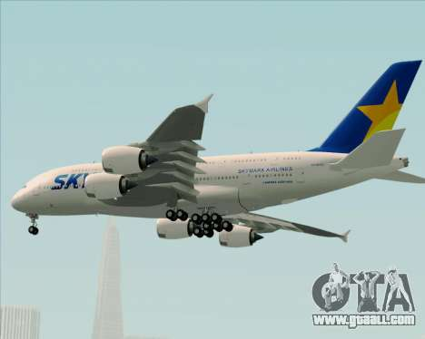 Airbus A380-800 Skymark Airlines for GTA San Andreas bottom view