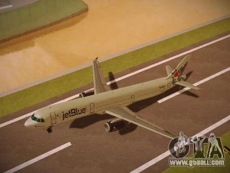Airbus A321-232 jetBlue I love Blue York for GTA San Andreas interior