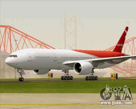 Boeing 777-21BER Nordwind Airlines for GTA San Andreas back left view