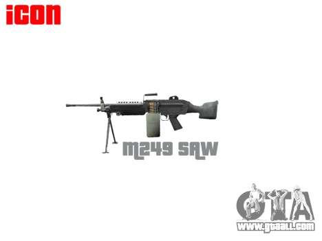 Light machine gun M249 SAW for GTA 4 third screenshot
