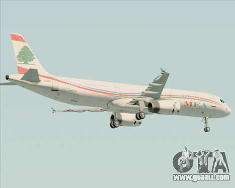 Airbus A321-200 Middle East Airlines (MEA) for GTA San Andreas bottom view