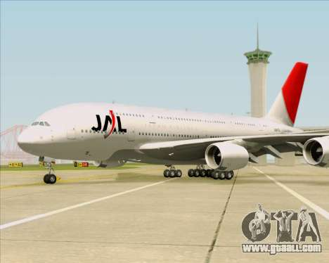 Airbus A380-800 Japan Airlines (JAL) for GTA San Andreas bottom view