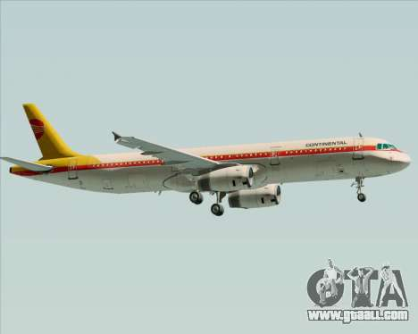 Airbus A321-200 Continental Airlines for GTA San Andreas back left view