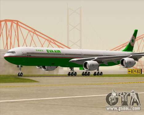 Airbus A340-600 EVA Air for GTA San Andreas back left view