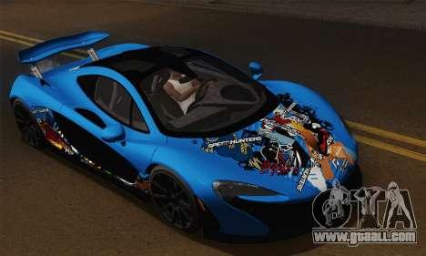McLaren P1 Black Revel for GTA San Andreas back view