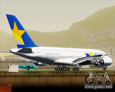 Airbus A380-800 Skymark Airlines for GTA San Andreas back view