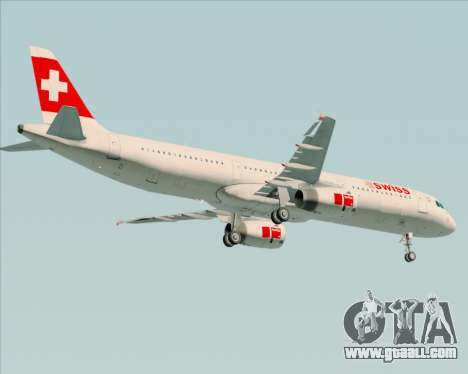 Airbus A321-200 Swiss International Air Lines for GTA San Andreas right view