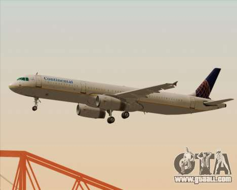 Airbus A321-200 Continental Airlines for GTA San Andreas back view