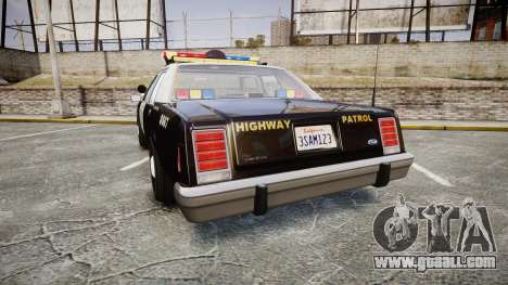 Ford LTD Crown Victoria 1987 Police CHP1 [ELS] for GTA 4 back left view
