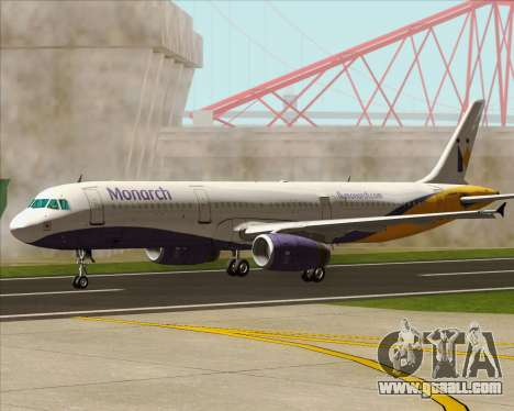 Airbus A321-200 Monarch Airlines for GTA San Andreas upper view