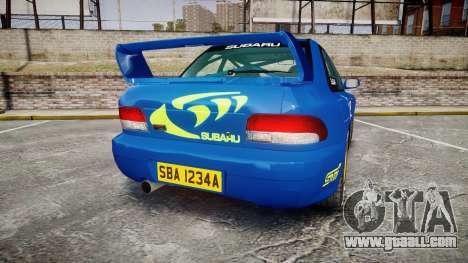 Subaru Impreza WRC 1998 World Rally v3.0 Green for GTA 4 back left view