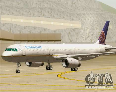 Airbus A321-200 Continental Airlines for GTA San Andreas upper view