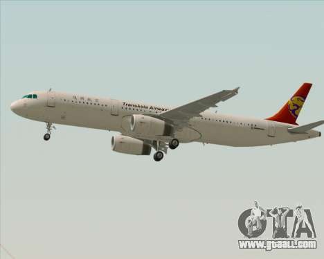 Airbus A321-200 TransAsia Airways for GTA San Andreas back left view