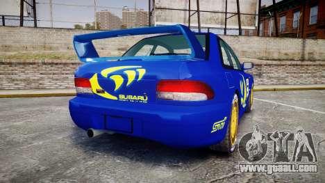 Subaru Impreza WRC 1998 Rally v2.0 Yellow for GTA 4 back left view