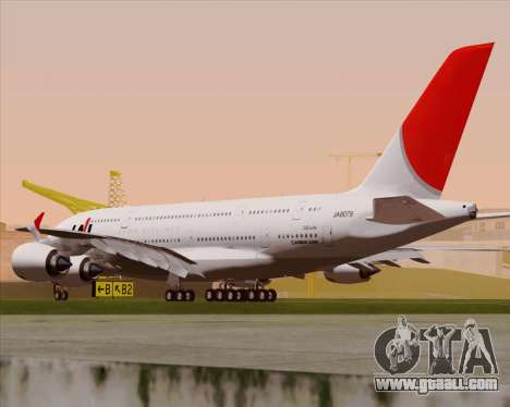 Airbus A380-800 Japan Airlines (JAL) for GTA San Andreas right view