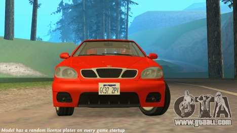 Daewoo Lanos Sport US 2001 for GTA San Andreas upper view
