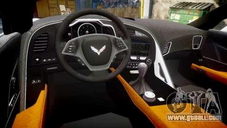 Chevrolet Corvette Z06 2015 TireCon for GTA 4 inner view