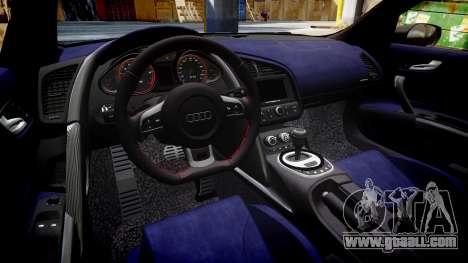 Audi R8 V10 Plus 2013 Vossen VVS CV3 for GTA 4 inner view