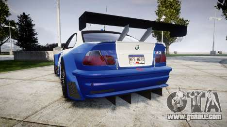 BMW M3 E46 GTR Most Wanted plate NFS-Hero for GTA 4 back left view