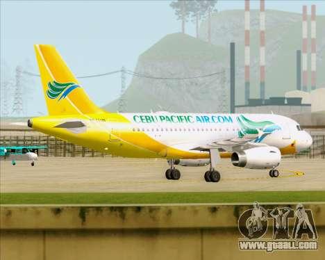 Airbus A319-100 Cebu Pacific Air for GTA San Andreas inner view
