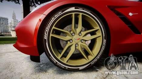 Chevrolet Corvette C7 Stingray 2014 v2.0 TireBFG for GTA 4 back view