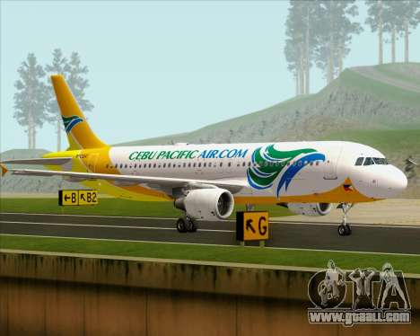 Airbus A320-200 Cebu Pacific Air for GTA San Andreas back left view