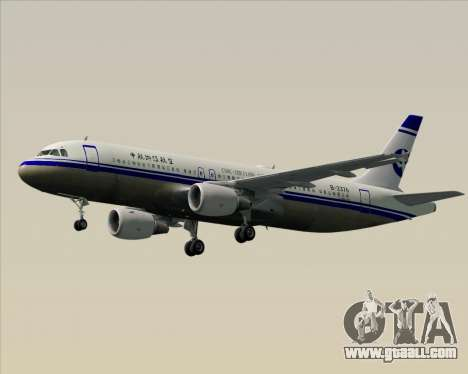 Airbus A320-200 CNAC-Zhejiang Airlines for GTA San Andreas bottom view