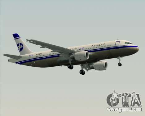 Airbus A320-200 CNAC-Zhejiang Airlines for GTA San Andreas inner view