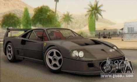 Ferrari F40 Competizione Black Revel for GTA San Andreas inner view