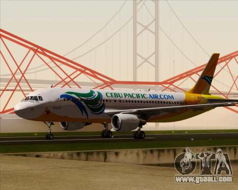 Airbus A320-200 Cebu Pacific Air for GTA San Andreas upper view