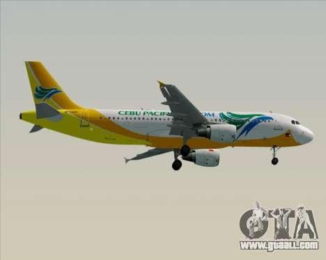 Airbus A320-200 Cebu Pacific Air for GTA San Andreas back view