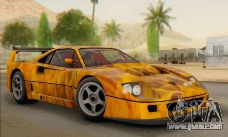 Ferrari F40 Competizione Black Revel for GTA San Andreas side view