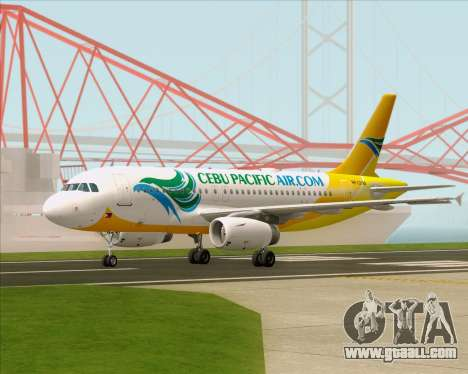 Airbus A319-100 Cebu Pacific Air for GTA San Andreas back left view