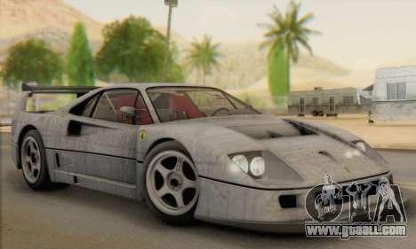 Ferrari F40 Competizione Black Revel for GTA San Andreas bottom view