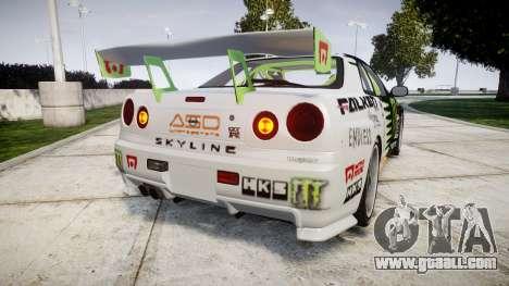 Nissan Skyline R34 GT-R V-Spec [RIV] for GTA 4 back left view