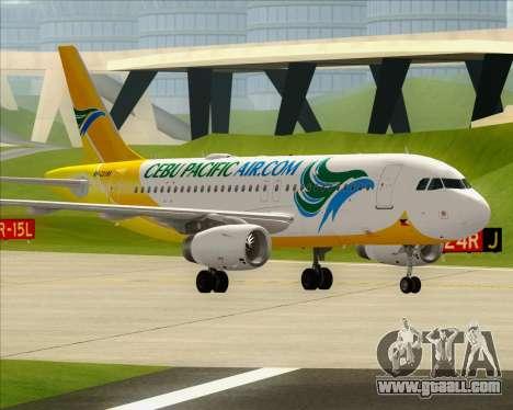Airbus A319-100 Cebu Pacific Air for GTA San Andreas interior
