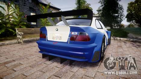 BMW M3 E46 GTR Most Wanted plate NFS Carbon for GTA 4 back left view