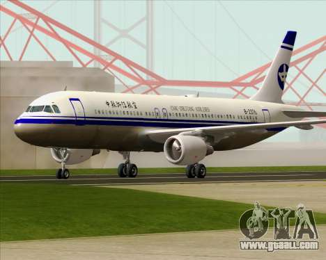 Airbus A320-200 CNAC-Zhejiang Airlines for GTA San Andreas upper view