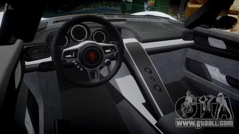 Porsche 918 Spyder 2014 Weissach for GTA 4 inner view