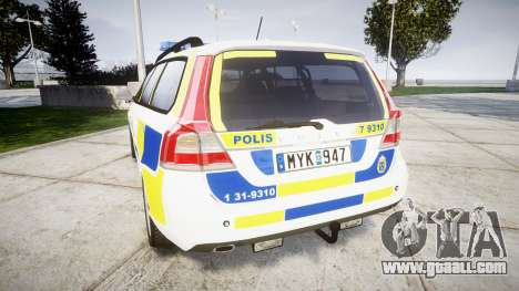 Volvo V70 2014 Swedish Police [ELS] Marked for GTA 4 back left view