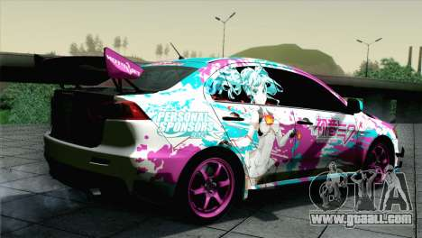 Mitsubishi Lancer Evolution X Racing Miku 2014 for GTA San Andreas left view