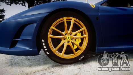 Ferrari F430 Scuderia 2007 plate Scuderia for GTA 4 back view