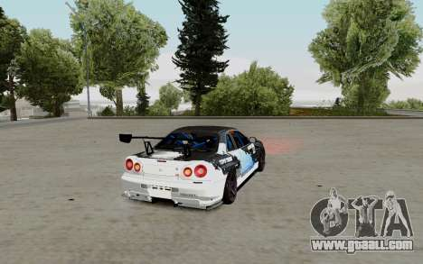 Nissan Skyline GT-R 34 Toyo Tires for GTA San Andreas back left view