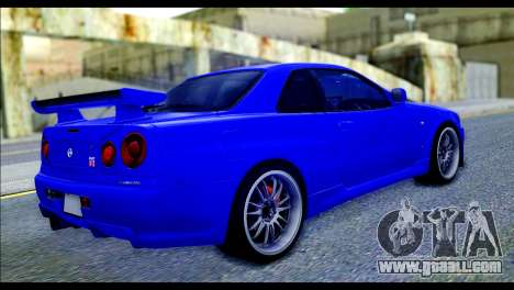 Nissan Skyline GTR R-34 from Fast and Furious 4 for GTA San Andreas left view