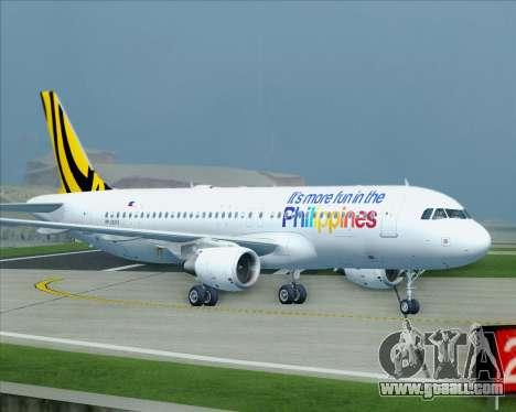Airbus A320-200 Tigerair Philippines for GTA San Andreas upper view