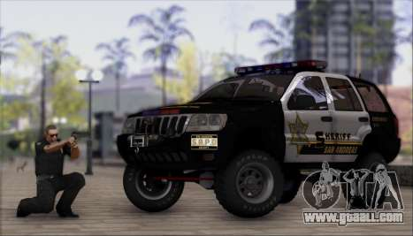 Jeep Grand Cherokee 1999 Sheriff for GTA San Andreas back left view