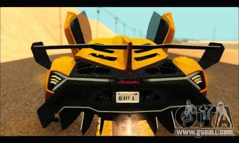 Lamborghini Veneno 2013 HQ for GTA San Andreas back left view