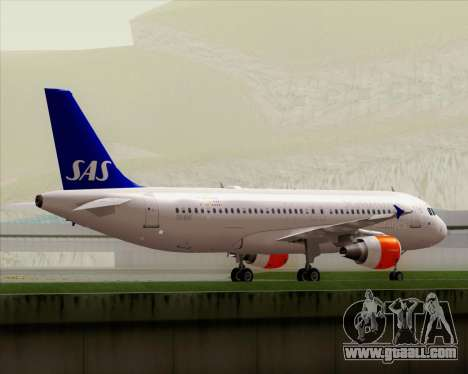 Airbus A320-200 Scandinavian Airlines - SAS for GTA San Andreas upper view